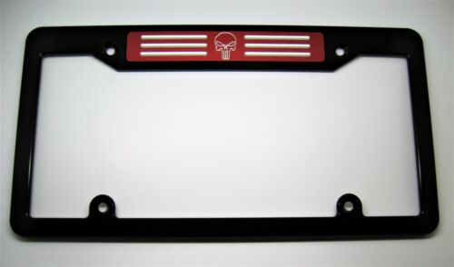 Black PUNISHER Billet Aluminum License Plate Frame TOP RED BADGE