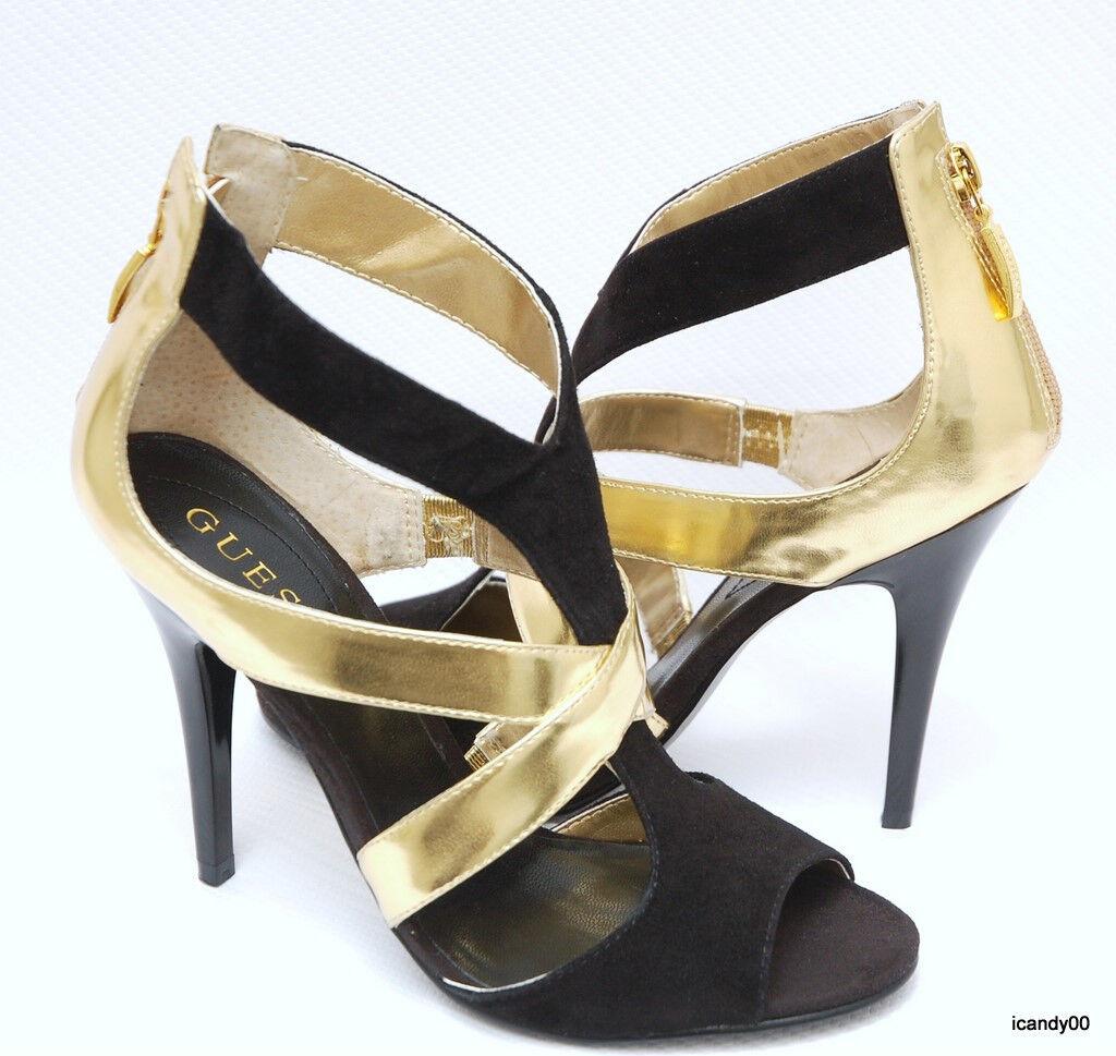Nuevo Guess finelee 2 con con con Tiras Tacón Alto Punta Abierta Sandalia Bomba De Zapatos  Negro oro  9  descuento de ventas