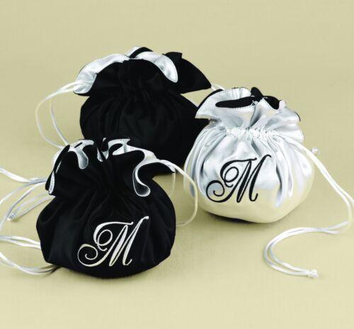 Reversible Black White Satin Monogram Jewelry Pouch Wedding Bridesmaid Gift