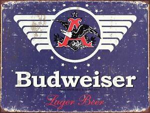 Retro metal Aluminium Sign vintage Bar// Pub man cave Budweiser