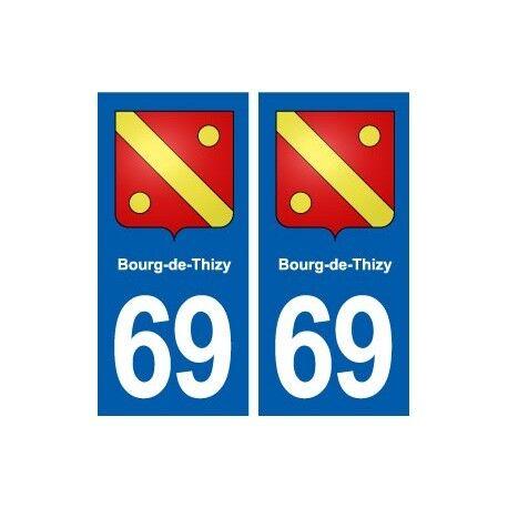 69 Bourg-de-Thizy blason autocollant plaque stickers ville -  Angles : droits