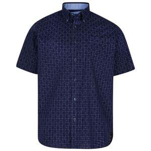 New-Mens-Kam-Cotton-Big-amp-Tall-Size-Short-Sleeve-Check-dress-Shirt-Dobby-Blue