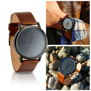New-Men-039-s-Modern-Leather-Stainless-Steel-Military-Sport-Quartz-Star-Wrist-Watch