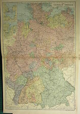 1894 ANTIQUE MAP ~ GERMAN EMPIRE WESTERN HANOVER KIEL MECKLENBERG WILHELMSHAVEN