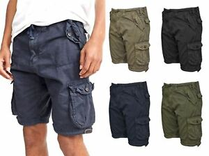 Mens-Knee-Length-Cargo-Utility-Pocket-Shorts-Summer-Hiking-Cotton-TwillPants