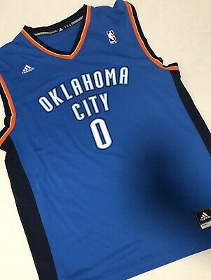 official photos 13fdd cecb1 New Adidas NBA Jersey #0 Oklahoma City Thunder Russell Westbrook Blue sz L  | eBay