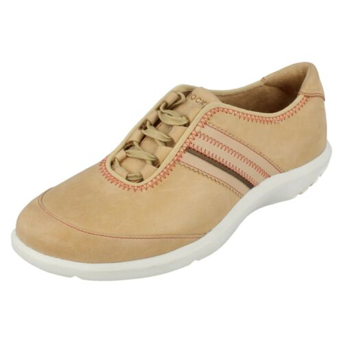 Details about  /Ladies GHILLEY LACE UP beige leather trainers Size UK 4.5 Rockport Sale