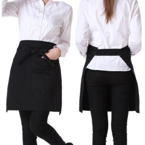 Black Short Waiter Waitress Barista Chefs Waist Pocket Apron for Bar Cafe Pub
