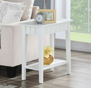 Details about Small Narrow End Table Storage Shelf Side Accent Living Room  Furniture White NEW