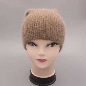1bd942e8467 Women Cap Winter Autumn Spring Hat Knit Wool Angora Rabbit Hair Fur ...