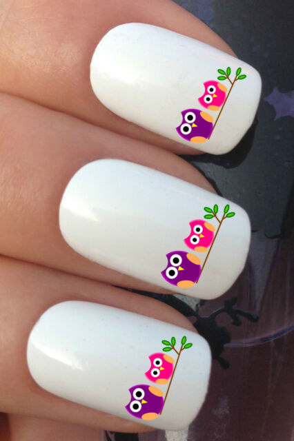 NAIL ART SET #294. x24 PINK PURPLE OWLS ON BRANCH WATER TRANSFER DECALS STICKERS