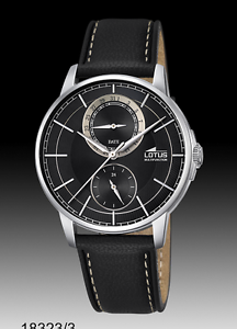 a17c8de96080 Details about Lotus 18323/3 Multi-Function Solid Stainless Steel Black  Leather Strap Watch