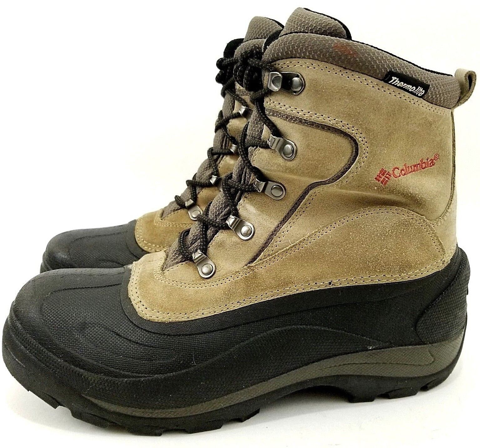 COLUMBIA CASCADIAN SUMMIT LEATHER RUBBER WATER RESISTANT THERMOLITE SNOW BOOTS 9