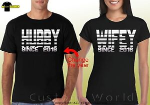 5d132939a0 Image is loading Couple-Shirts-Husband-Wife-Matching-tshirt-Hubby-Wifey-