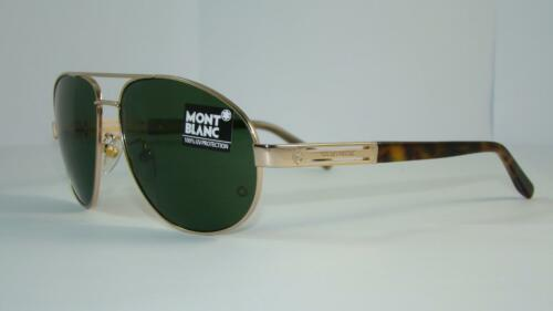 MONT BLANC MB 369 S 28N Matte Gold /& Havana Aviator SUNGLASSES Green Lens Siz 60