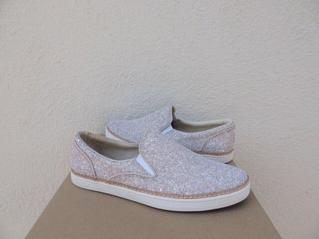 UGG ADLEY POWDER CHUNKY GLITTER LEATHER SLIP ON SNEAKERS, US 7 EUR 38 ~NIB