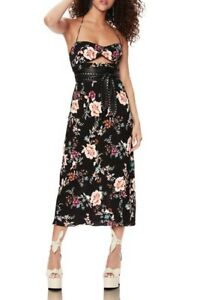 AFRM Hewitt Midi Halter Dress Size XS Cutout Sweetheart Neckline Floral NWD B93