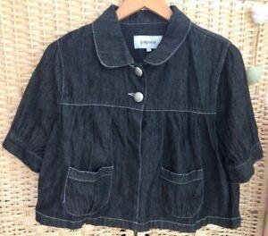 Matalan-Papaya-Black-Denim-Short-Cape-Jacket-Coat-2-Buttons-Size-14-Lightweight