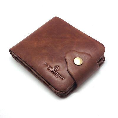 New Mens Wallet KOREA -143 Zipper Vintage Clutch Bifold Oil Leather Purse Hit