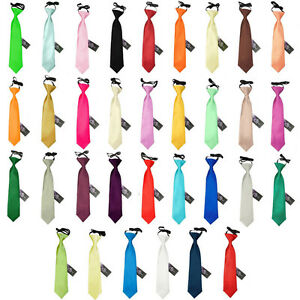 Premium-Satin-Solid-Plain-Formal-Wedding-Page-Garcon-Elastique-Garcon-Pre-noue-Cravate