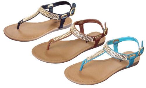 New Women/'s Crystal Rhinestone Gladiator Flat Sandal T-Strap *** 8063