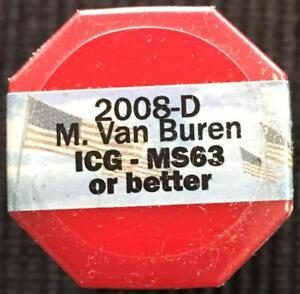 Details about 2008 D M  Van Buren ICG MS 63 or Better Sealed Roll of 20  Presidential Dollars