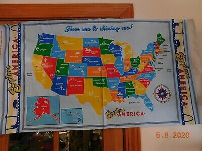 Fabric USA North American Map on KAUFMAN Cotton Panel 24x44 195