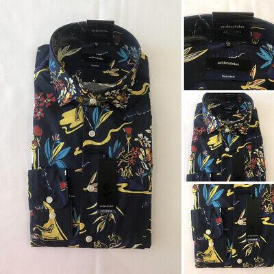 Baumwolle, Rocola Luxus Freizeithemd Alle Größen Blau Blumen Design