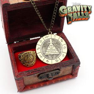 Gravity-Falls-Bill-Cipher-Necklace-Brozen-Pendant-Ring-Vintage-Display-Box