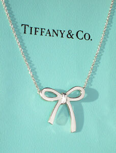 Tiffany co bow ribbon sterling silver pendant necklace ebay image is loading tiffany amp co bow ribbon sterling silver pendant audiocablefo
