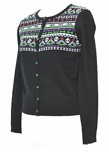 BLACK-SKULL-CROSS-BAT-CARDIGAN-NORDIC-HORROR-PSYCHOBILLY-XS-S-M-L-XL