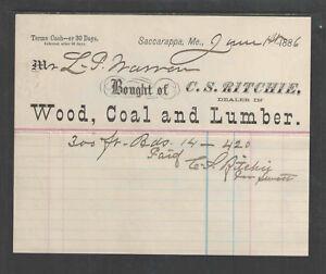 1886-C-S-RITCHIE-WOOD-COAL-and-LUMBER-SACCARAPPA-ME-BILLHEAD