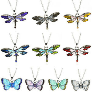 Women-Fashion-Enamel-Butterfly-Dragonfly-Crystal-Silver-Pendant-Necklace-Chain