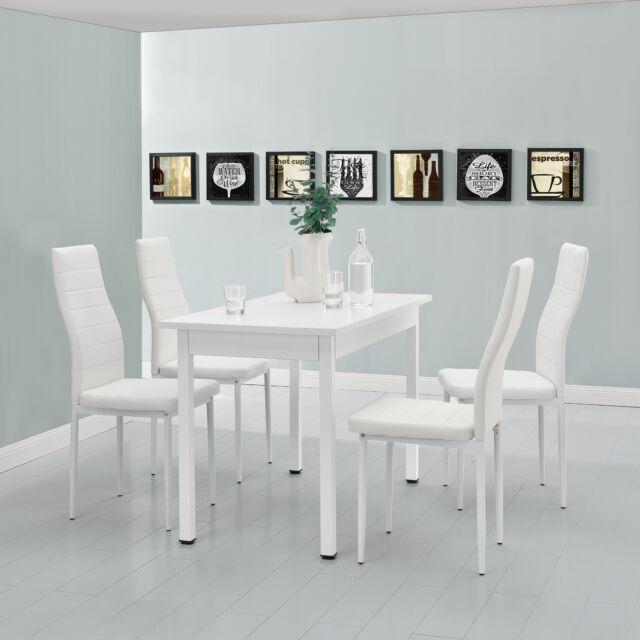 En Casa 120x60cm Esstisch Mit 4 Stühlen Weiß Günstig Kaufen Ebay