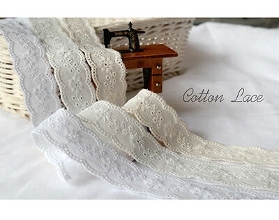 """14Yds Broderie Anglaise cotton eyelet lace trim 0.9""""(2.3cm) YH1432A laceking2013"""
