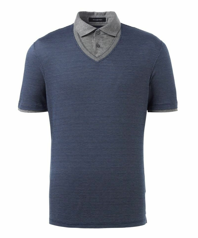 ERMENEGILDO ZEGNA bluee 100% Cotton Geometric Print Short Sleeve Polo T-shirt