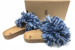 660621c2069 Details about UGG Australia CINDI YARN FRINGE CORK SOLE SLIDE SANDALS Dark  Denim Blue 1020079