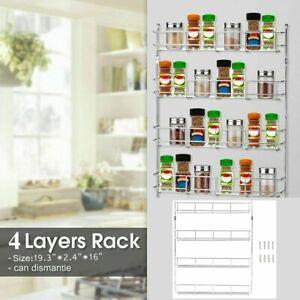 HOT-4-Tier-Kitchen-Spice-Rack-Cabinet-Organizer-Wall-Mount-Storage-Shelf-Holder