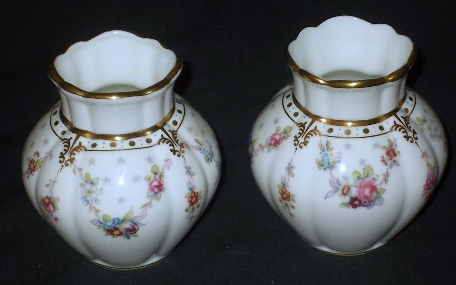 Image 1 - TWO Royal Crown Derby ROYAL ANTOINETTE Viola Vases