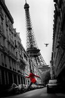 La Veste Rouge Poster Red Coat Eiffel Tower Black And White Decorative Beauty