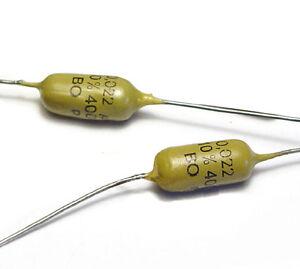 2x-MULLARD-MUSTARD-Kondensator-0-022-F-400-Volt-axial