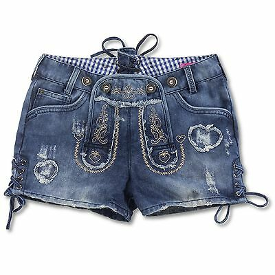 Krüger Damen Trachten Destroyed Jeans Shorts Hotpants Kurze Hose Trachtenhose