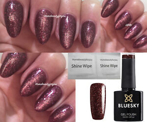 BLUESKY-GEL-POLISH-BURGUNDY-GLITTER-MAROON-VIP09-NAIL-LED-UV-SOAK-OFF-ANY-2-FILE
