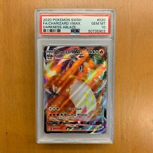 2020-POKEMON-Sword-amp-Shield-Charizard-VMAX-020-Full-Art-Darkness-Ablaze-PSA-10