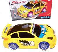Yellow Battery Operated Bump And Go Race Car Light Up Racing Toy Flashing Music