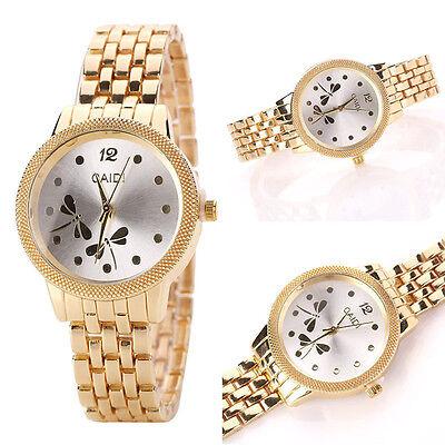 Fashion Women Dragonfly Gold Stainless Steel Analog Quartz Bracelet Wrist Watch
