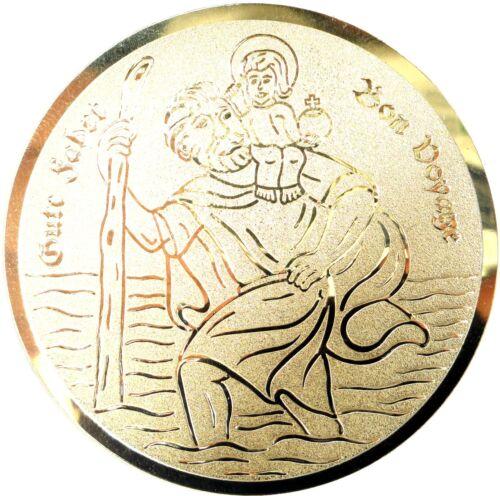 St. Christophorus Schutzpatron Plakette 50 mm goldfarben mit Klebepad
