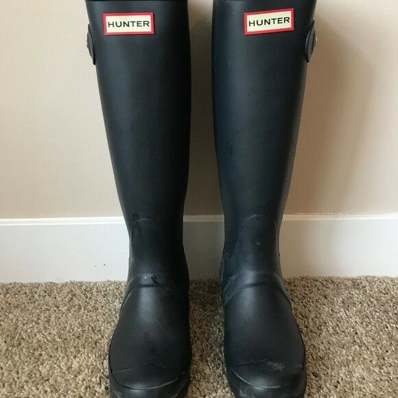 Hunter Damenschuhe Navy Rubber Rain BOOTS Original Tall 6 Wft1000rma