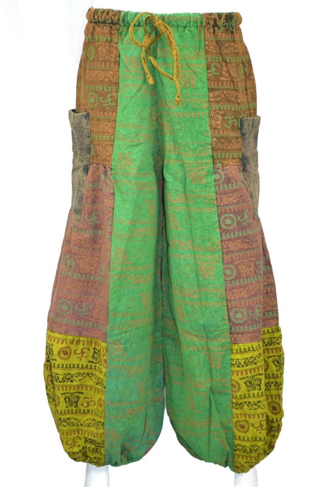 Alibaba Baggy Harem OM Green Monk Trousers Hippie Trouser High Cut Pant Unisex