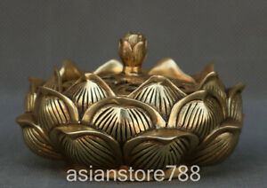 Marked-Chinese-Bronze-Ancient-Hollow-out-Lotus-Flower-Incense-Burner-Censer